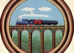 """""""Vijadukt"""" ,1975. 30 x 30 cm. ulje-platno , privatno vlasništvo"""